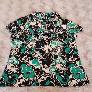 Apostrophe blouse sz LARGE black/teal green